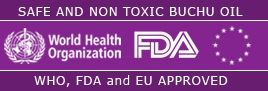 Buchu Oil is safe, non toxic and approved by the World Health Organisation, FDA and EU
