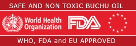 Buchu Oil is safe, non toxic and approved by the World Health Organisation, FDA and EU.